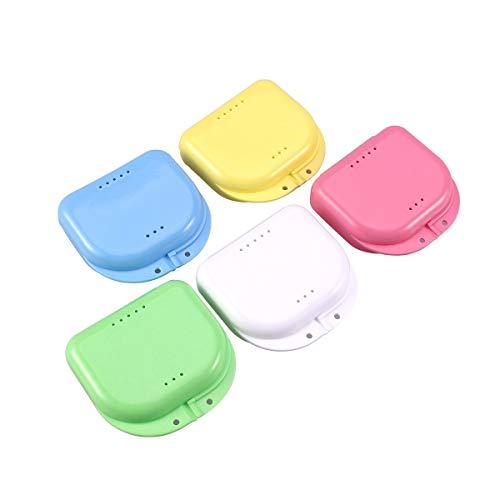 Voarge Zahnspangendose, Dental Box Zahnprothesenbecher Behälter Becher Dose Zahnprothese orthopädisch, 5 Stück Zahnspangenbox Prothesendose auch für Aufbissschiene