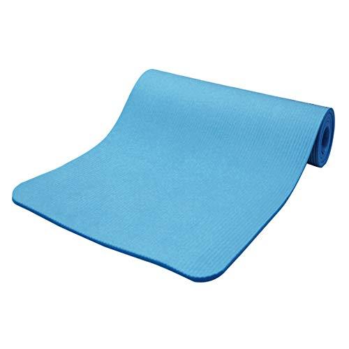 Hzb821zhup - Esterilla de Yoga con Rayas horizontales de 15 mm de Grosor, Antideslizante, para Ejercicio, Yoga, Pilates, Color Azul, tamaño Talla única