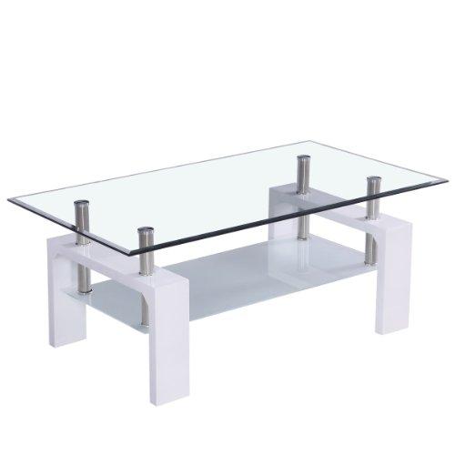 Corium Mesa de Centro (100 x 50 x 45 cm) (Tablero de Cristal) (Blanca) Mesa de salón - Mesa Auxiliar - Brillante
