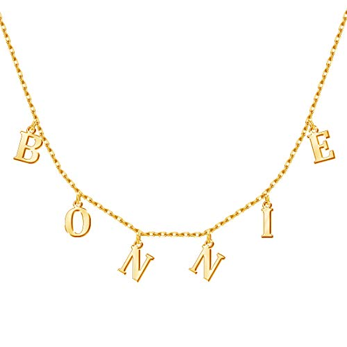 LisaKette Kette Mit Buchstabe,Buchstabenkette,Buchstaben Anhänger,Namenskette Silber/Gold/Rose,Kette Mit Name,Kette Mit Gravur,Personalisierter Schmuck,Schmuck Damen
