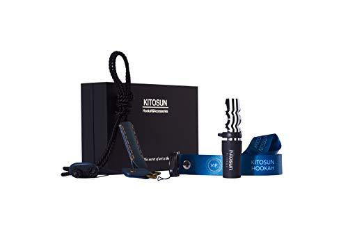 Afoosoo Juego de puntas para cachimba Narguile Crowd de lujo con elegante correa de piel exclusiva VIP para destacar de la shisha Narguile Crowd (cebra)