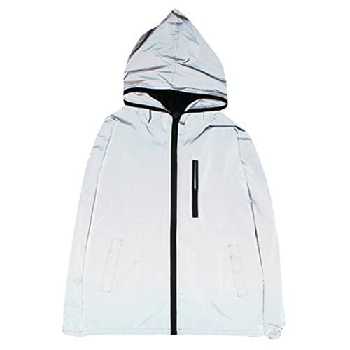 FONMA Reflective Jacket Men/Women Harajuku Windbreaker Jackets Hooded Streetwear Coat Gray