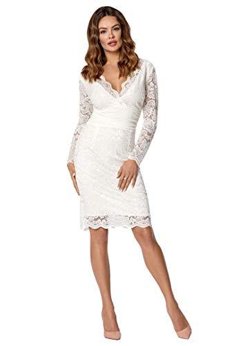 VictoriaV Damen Kleid Etuikleid Spitze Bleistiftkleid Pencilkleid Spitzenkleid Langarm Knielang Hochzeit Creme Größe 36