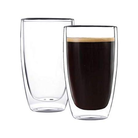 CnGlass - Juego de 2 tazas de café con aislamiento de doble pared, taza de café transparente con asa, vasos de café con latte, taza de té de vidrio, transparente, (Transparent color), 13.5 OZ/400ML