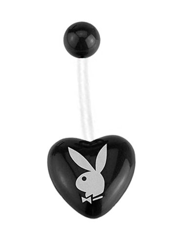 Officially Licensed Black Playboy Bunny Heart Pregnancy Bioflex plastic adjustable flexible great for Pregnant PTFE Belly Navel piercing bar Ring 14g