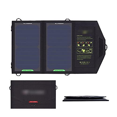YSNUK Caricabatterie a Pannelli solari USB Produzione 5V 10W. Banca di Potenza Mobile Zaino Impermeabile per Cellule solari Pieghevoli della Batteria del Telefono (Color : Black)