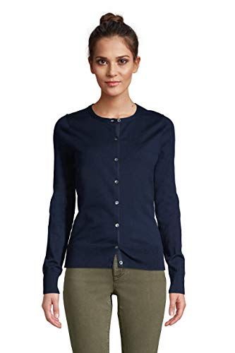 Lands' End Womens Supima Cotton Long Sleeve Cardigan Sweater Radiant Navy Plus 1x