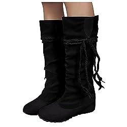 Hohe Stiefel für Damen - Dasongff Stiefeletten Ankle Boots Fransen Langschaft Winterschuhe Retro-Stil Quaste Reiterstiefel Schuhe Kniehohe Schuhe Runde Zehen Halblange Stiefel Winter und Herbst