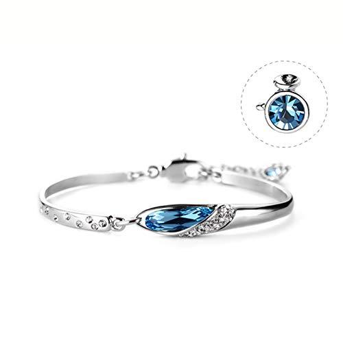 LIANGJING 12 Constellation Silber Frauen Swarovski Armband Geburtstagskind Geschenk zu schicken Freundin,Aquarius