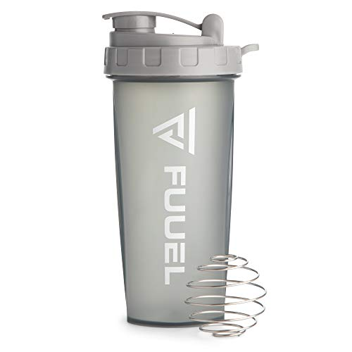 Shaker Bottle with Lanyard, Grey, 24oz - Leak Proof Mixer Cup with Stainless Steel Blending Ball - Mixing Bottles for Protein Shakes - Premium Fitness Accessories