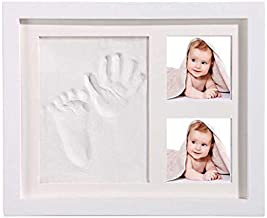 """Baby Handprint and Footprint Kit for Kids and Pets. Includes 9""""x11"""" Photo Frame, White and Blue Clay for Baby Shower, Baby Gifts, Keepsake Box, Baby Room Decor, Nursery Decorations"""