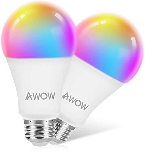 AWOW Bombilla LED Inteligente Wifi RGBW, A60 E27 9W 800LM Bombillas Inteligentes con Control de Voz, Cambio de Colores y Luminosidad, Compatible con Alexa, Google Home e IFTTT (Paquete de 2)