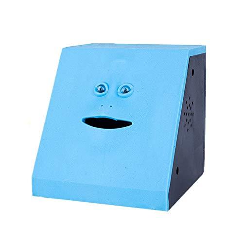 WeFoonLo Moneda de la Novedad Dinero Comiendo Musical Face Bank Ahorro de Dinero automático Colección Piggy Bank para Niños (Piso Azul)