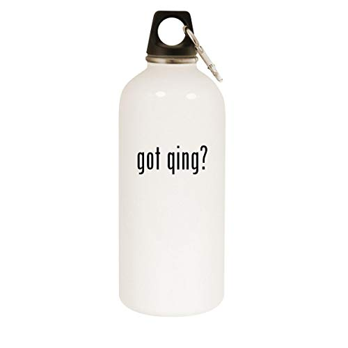 got qing? - 20oz Stainless Steel White Water Bottle with Carabiner, White