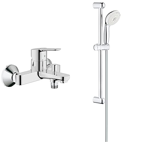 Grohe BauEdge Grifo para ducha y baño con sistema de montaje en pared e inversor automático + Tempesta Conjunto de Ducha con Barra, 3 Chorros, Cromo