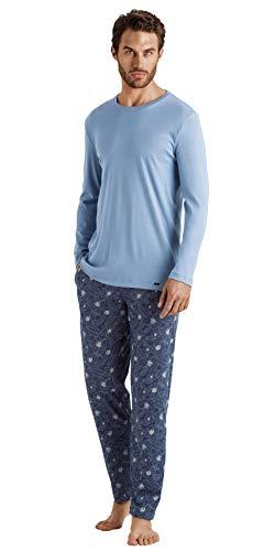 Hanro Herren Night & Day Long Sleeve Pajama Pyjama Set, Seaport Flower, XX-Large