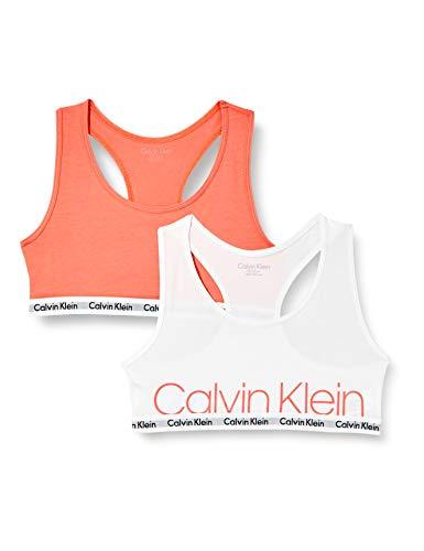 Calvin Klein Mädchen 2PK Bralette BH, 1 Weiß/1 Georgiapeach, 8-10 Jahre