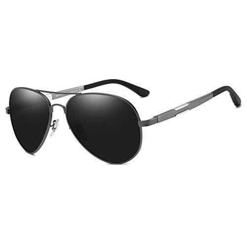 DUCO Unisex Fliegerbrille Polarisierte Sonnenbrille, Pilotenbrille mit Federscharnier, Etui und Putztuch, 3026 (Grau)