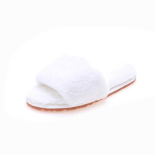 Zapatillas Cómodas Suave CáLido y Antideslizante ,Zapatillas de mujer, zapatos de invierno para el hogar, piso cálido antideslizante para el hogar, diapositivas de piel peluda, blanco 1 UE 38-39