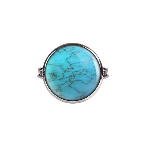 Mylery Anillo con Motivo Falsa Piedra cristalino del Poder curativo de Piedras Preciosas de imitación de la Turquesa Plata Diferentes tamaños