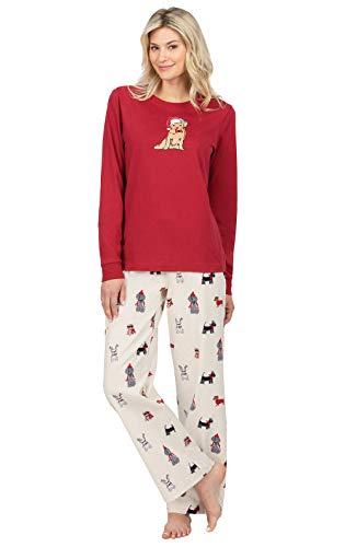 PajamaGram Dog Pajamas for Women - Christmas Pajamas Women, Dogs, L 12-14 Ivory