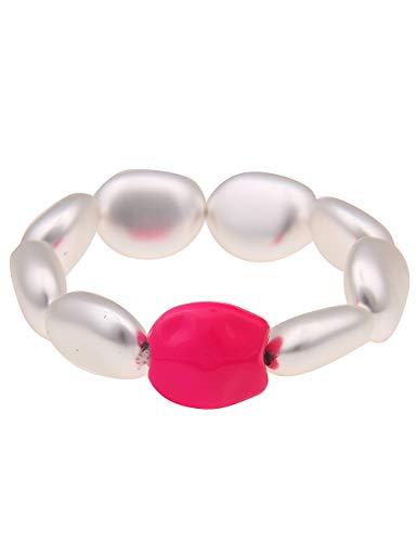 Leslii Damen-Armband Armreif Neon-Pink Statement-Armband Disco 90er-Party Modeschmuck-Armband 80er 19cm in Silber Neon-Pink Pinkes