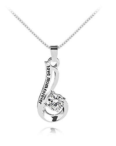 Día de la madre regalo, Deesos Collar Amo a mi mamá para siempre El mejor regalo para el cumpleaños de la madre Diamante Colgante Collar para el cumpleaños de la madre Plata