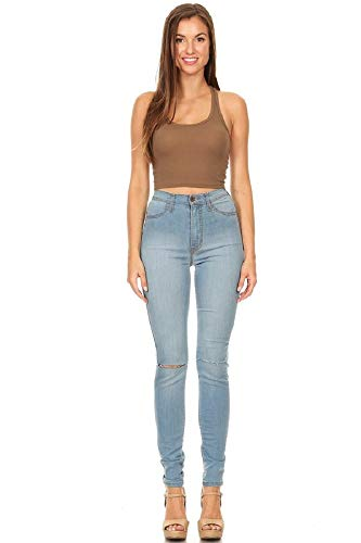 Aphrodite High Waisted Jeans for Women - High Rise Skinny Womens Knee Distressed Ripped Jeans 4373 (Made in USA) Light Blue 5