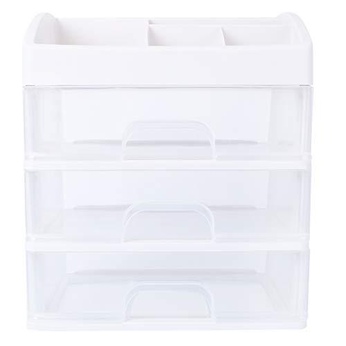 Cabilock 3 Layer Drawer Storage Case Plastic Jewelry Storage Box Organizer Desktop Sundries Container for Home