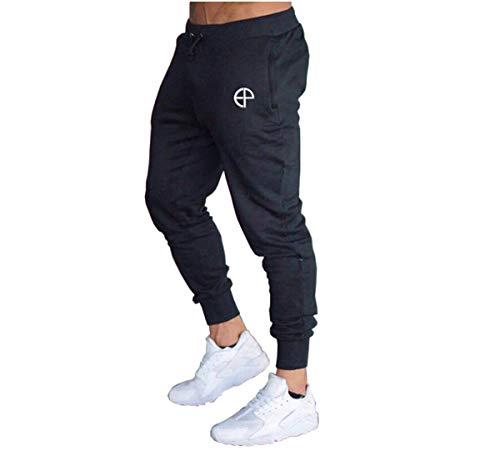 Vanornia Pantaloni Uomo Slim Fitness Casual Pantaloni Sportivi da Corsa Jogging Palestra Allenamento in Cotone con Coulisse Tasche (Nero, L)