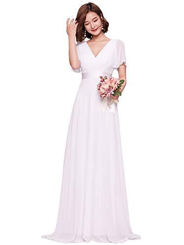 Ever-Pretty Vestito da Sposa Donna Stile Impero Linea ad A Scollo a V Maniche Corte Lungo Bianco 40