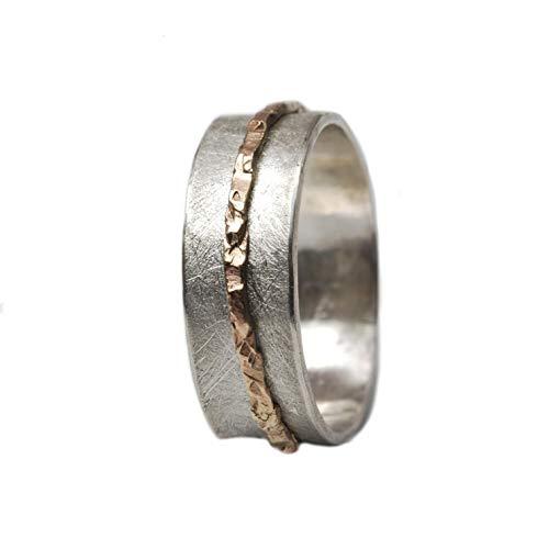 Matter Silberring Drehring mit Gold Größen 60 (19.1)