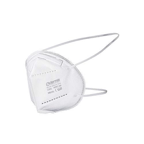 DERMIK - mascarilla protección respiratoria FFP2 N2. Filtración 94%. Caja de cartón 25 Unidades empaquetadas Individualmente
