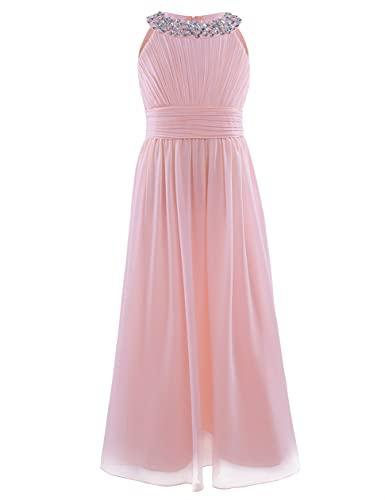 CHICTRY Mädchen Kleider Prinzessin Kleid Hochzeit festlich Lange Partykleid Abendkleid Festkleid Blumenmädchenkleid Gr. 104 116 128 140 152 164 Perle Rosa 140