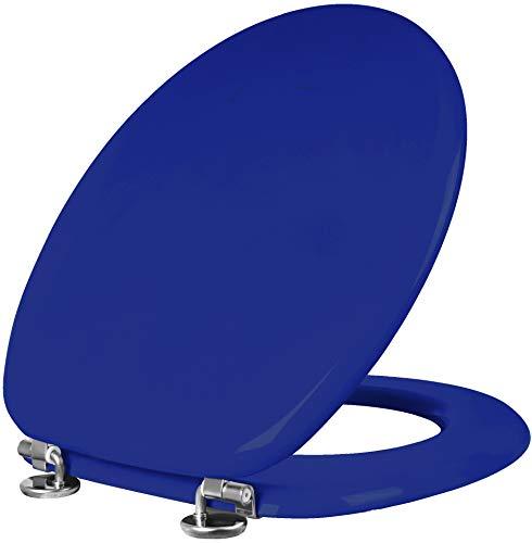 Cornat WC-bril Modena – hoogwaardige houten kern – comfortabel zitgevoel – effen design past in elke badkamer/toiletbril/wc-deksel blauw blauw