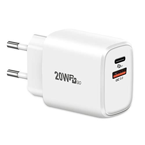 20W USB C Ladegerät,Cshare PD 3.0 Typ C Netzteil Stecker Power Adapter Kompatibel mit iPhone 12/12 Pro/12 Pro Max/12 Mini/11 Pro/SE 2020/8/X XR XS Pad AirPods Galaxy S10 Huawei USB A und C Dual Port.