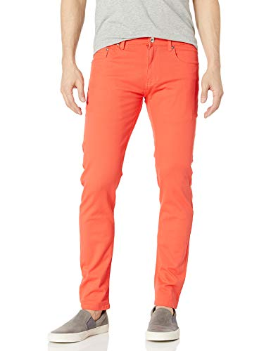 WT02 Men's Basic Color Twill Stretch Span Pants, Salmon(New), 34X32