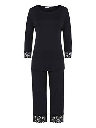 Hanro Damen Moments Nw Pyjama 3/4 Arm Zweiteiliger Schlafanzug, Schwarz (Black 0019), 36 (Herstellergröße: XS)
