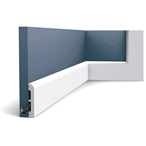 Zócalo Orac Decor SX183 AXXENT CASCADE Zócalo Multifuncional Elemento decorativo para pared diseño moderno blanco 2 m