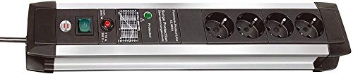 Brennenstuhl Premium-Protect-Line, Steckdosenleiste 4-fach mit Überspannungsschutz - stabiles Aluminium-Gehäuse (3m Kabel und Schalter, Made in Germany) silber/schwarz