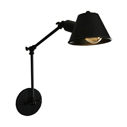 CSDM.AI Largo Brazo De La Lámpara De Pared, Personalidad Estilo Retro Aplique De Pared Negro Telescópico Plegable Cama Doble Sección Brazo Largo De Hierro Forjado Wall Lamp