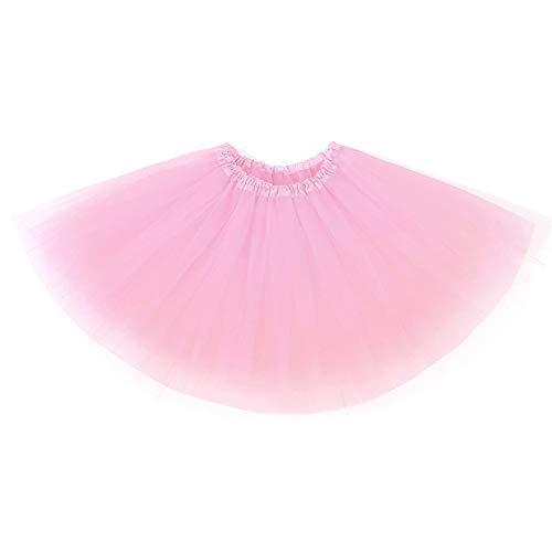 Ruiuzi Mini falda de tutú para mujer, 4 capas, para baile, disfraz, fiesta, Halloween, bailarina rockera Rosa. Talla única