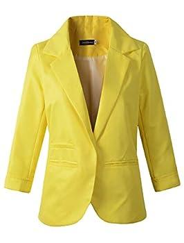 Women s 3/4 Sleeve Boyfriend Blazer Tailored Suit Coat Jacket  TG-503 Yellow M