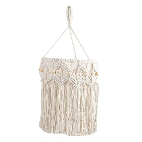 H HILABEE Pantalla de Lámpara de Macramé Moderna Tejida de Encaje Bohemio Colgante Decoración de La Cubierta de La Pantalla