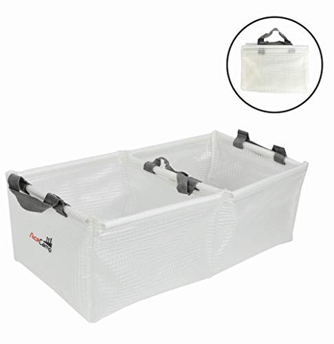 AceCamp Multifunctional Collapsible Water Basin, Folding Tub, Portable Bin, Lightweight Foldable Sink with Handles for Camping, Dish Washing, Laundry, Fishing, Hiking, Outdoors (Double Basin - 20L)