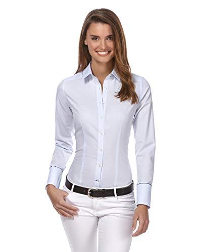 Vincenzo Boretti Damen Bluse leicht tailliert 100% Baumwolle bügelleicht Langarm Hemdbluse elegant festlich Kent-Kragen auch für Business und unter Pullover eisblau 42