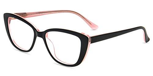 Firmoo Occhiali da Lettura Uomo Donna +1.00, Occhiali Presbiopia Anti Luce Blu e 100% UV Protezione, Cat Eye Occhiali da Vista Antiriflesso, Nero Rosa