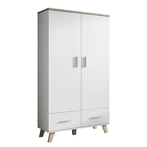 Mirjan24 Drehtürenschrank Lotta mit Zwei Schubladen, Kleiderschrank im skandinavischen Stil, Elegantes Schlafzimmer Schrank, Jugendzimmer, Wohnzimmer (Brilliant Weiß + Eiche Sonoma)