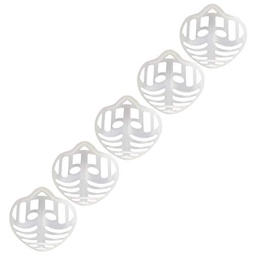 Xiangdan 3D-Silikon-Halterung für Masken, 5 Stück Stützrahmen, Silikon-Maskenhalterung, Innenkissen für Masken, Nasenpolster für Mund und Nase (Weiß)