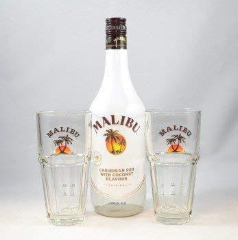 Malibu Caribbean Rum with Coconut Flavour 0,7 l ( 21% ) + 2 Original Malibu Gläser Rum Likör
